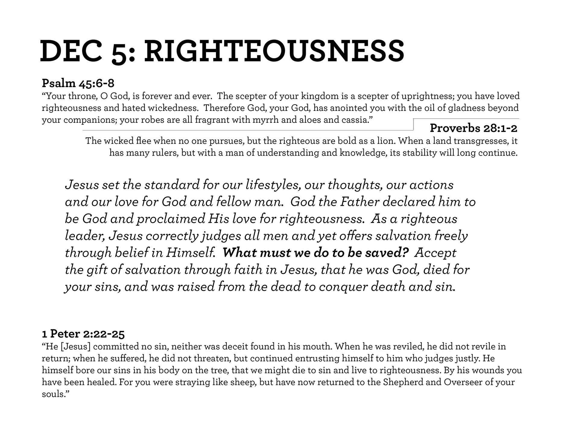 RIGHTEOUSNESS Psalm 45:6-8