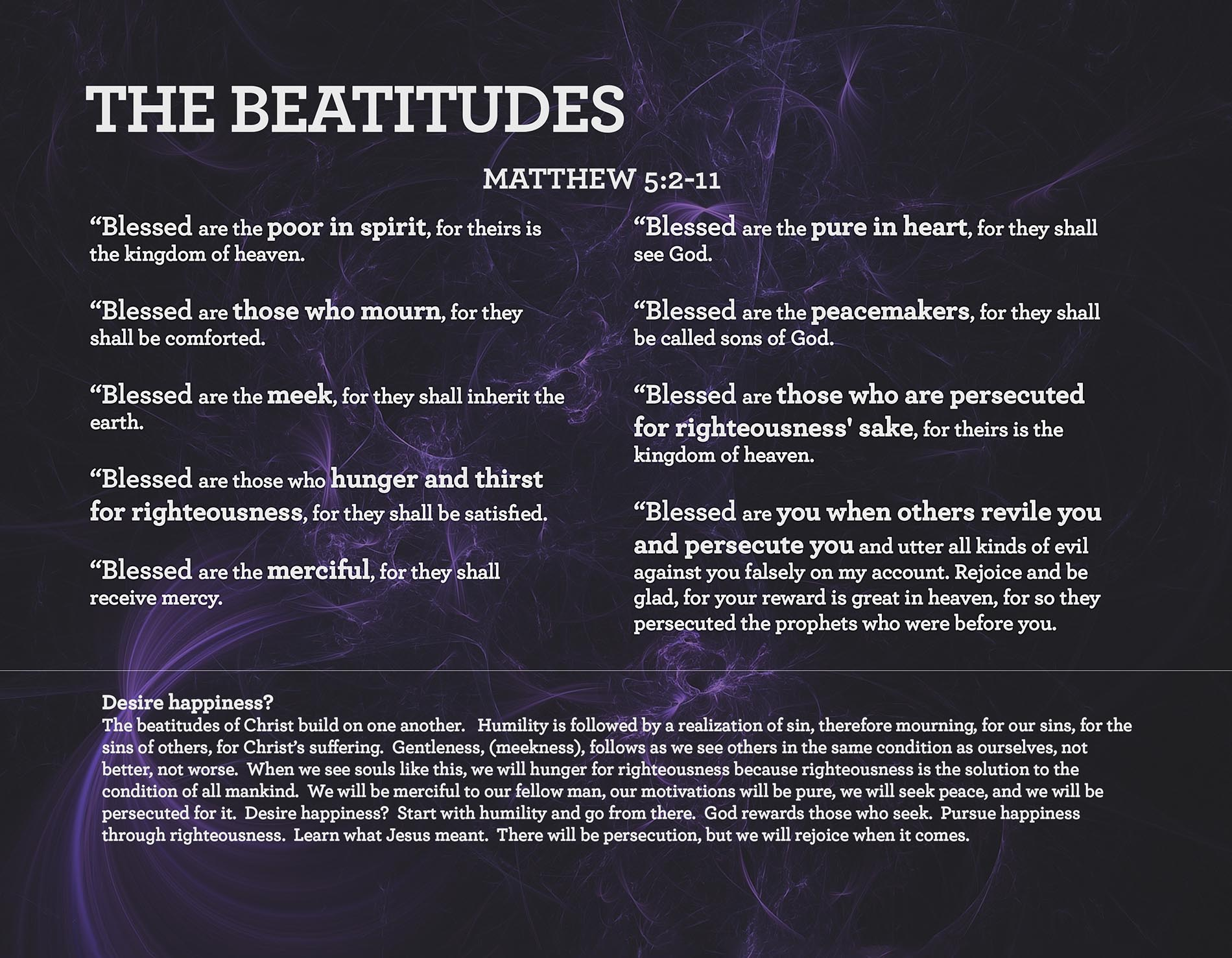 THE BEATITUDES Matthew 5:2-11