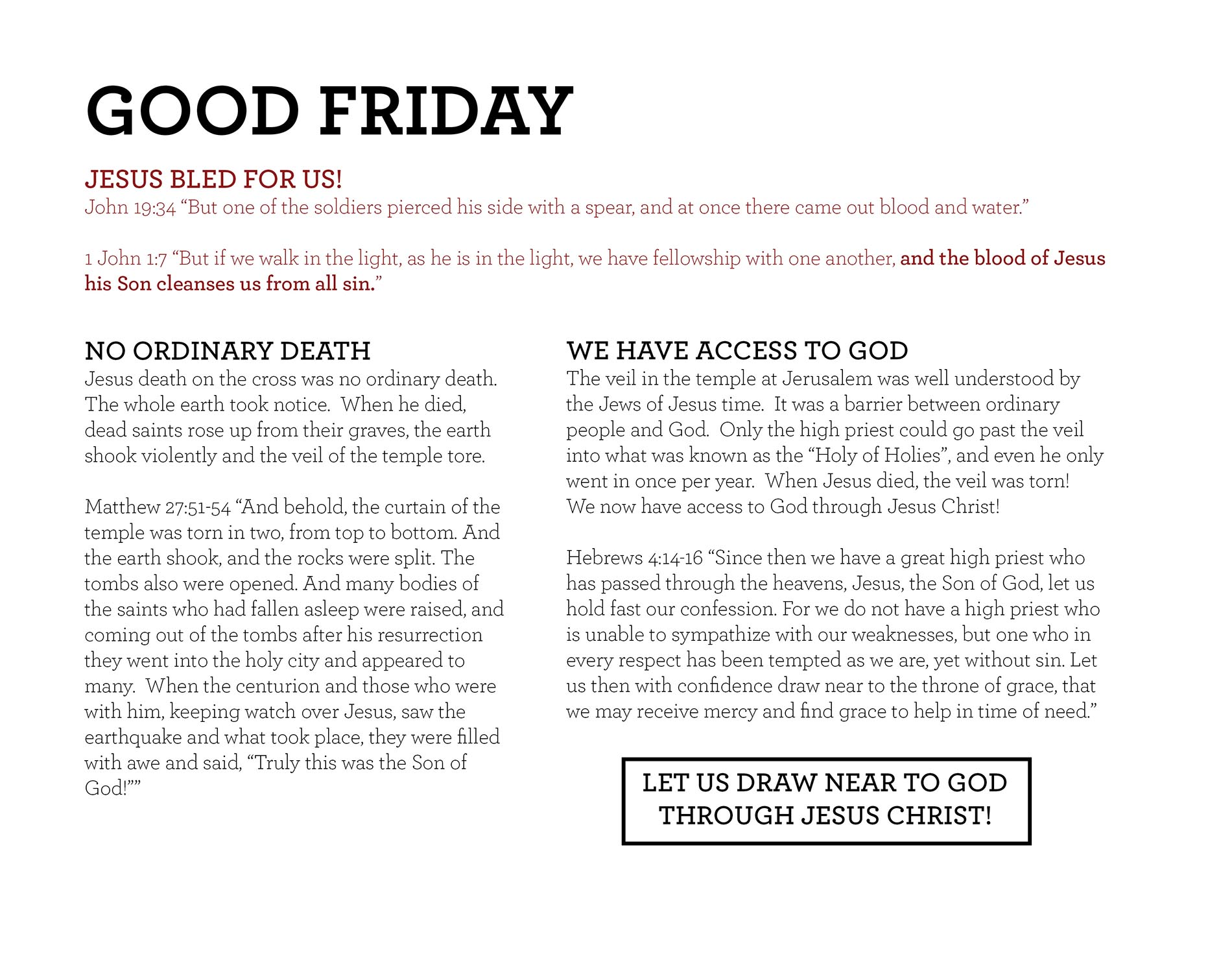 GOOD FRIDAY John 19:34