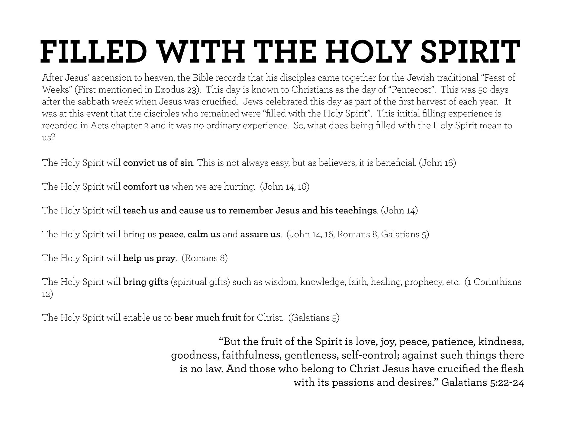 FILLED WITH THE HOLY SPIRIT Galatians 5:22-24